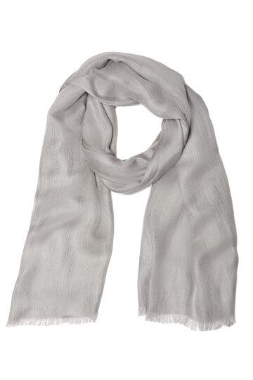 Plain viscose blend scarf, Grey, hi-res