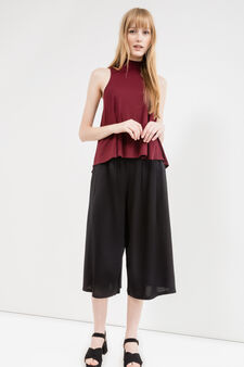 Stretch viscose blend top with high neck, Red, hi-res