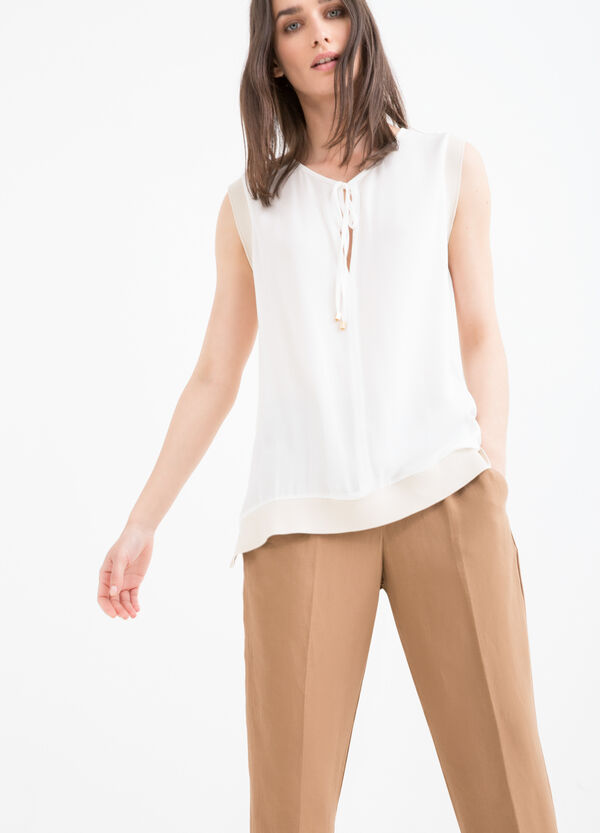 Blouse with tie fastening on neck. | OVS