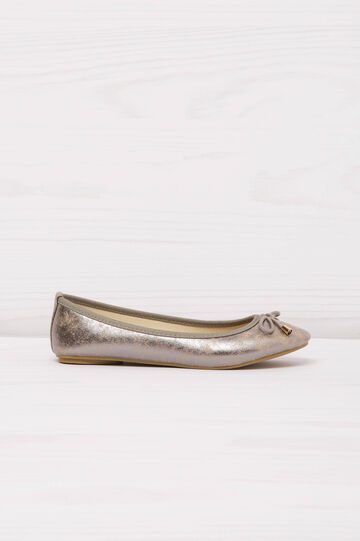 Ballerina flats with rope bow, Grey/Silver, hi-res