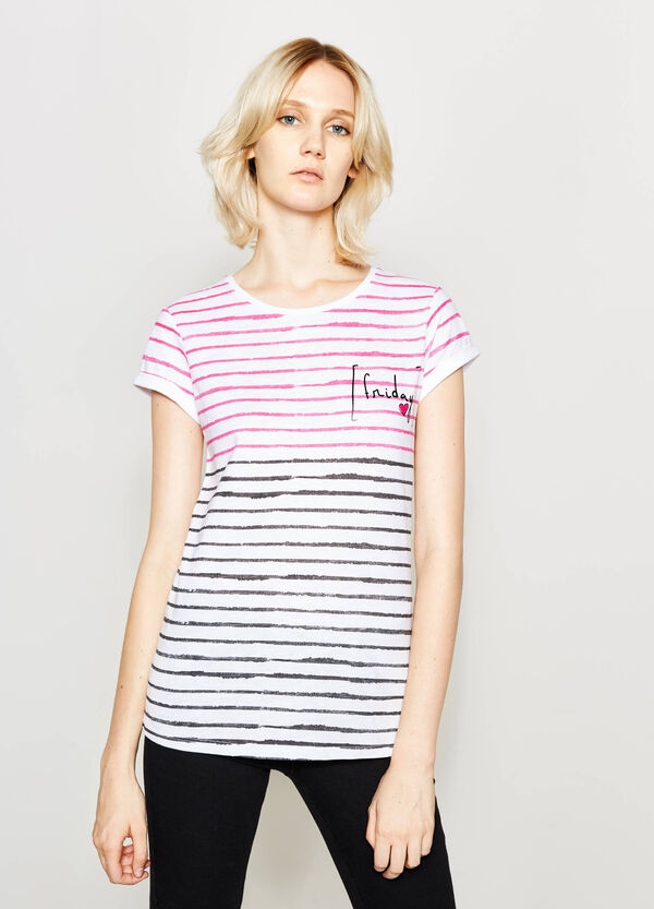 T-shirt a righe con stampa | OVS