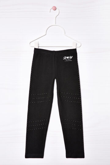 Stretch sequinned leggings, Black, hi-res