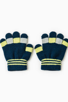 Solid colour gloves with ribbing, Navy Blue, hi-res