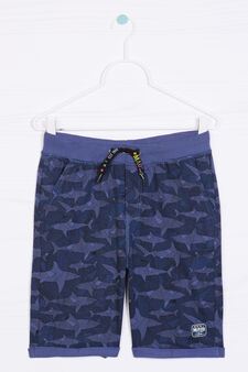 Bermuda shorts in 100% cotton with shark pattern, Blue, hi-res