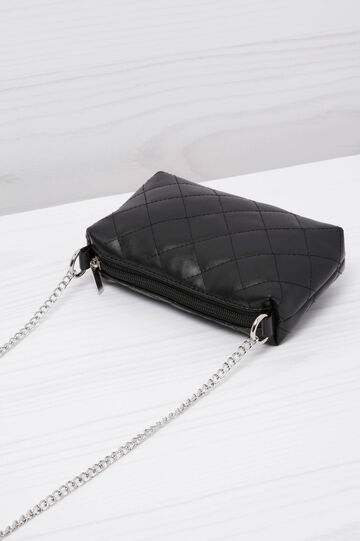 Leather look quilted mini bag, Black, hi-res