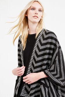 Geometric pattern knit cloak, Black/Grey, hi-res