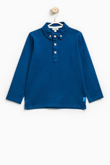 Stretch cotton polo shirt with button-down collar, Royal Blue, hi-res