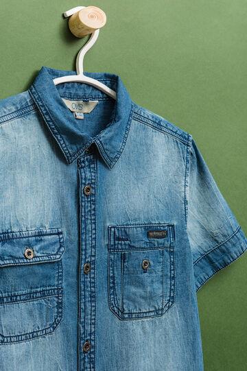Camicia jeans maniche corte delavé, Lavaggio medio, hi-res