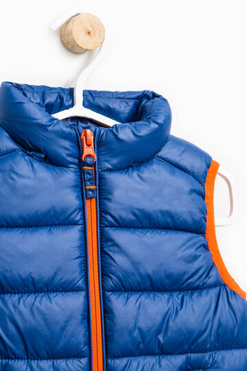 Quilted gilet with extractable hood, Blue/Orange, hi-res