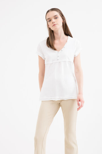 Diamanté T-shirt in 100% cotton, White, hi-res