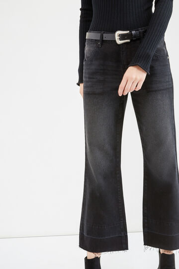 Jeans flare fit con scoloriture, Nero, hi-res
