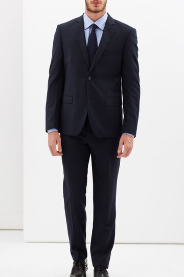 Solid colour elegant suit with slim fit, Blue, hi-res