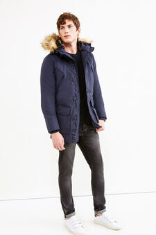 G&H solid colour parka with hood, Navy Blue, hi-res