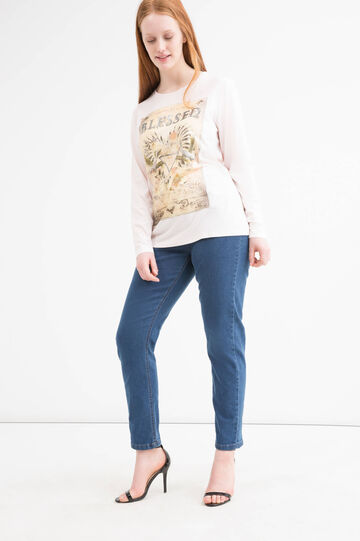 Curvy printed stretch T-shirt, Pink, hi-res