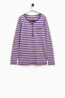 Smart Basic striped stretch T-shirt, White/Purple, hi-res