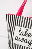 Handbag with striped pattern, White, hi-res