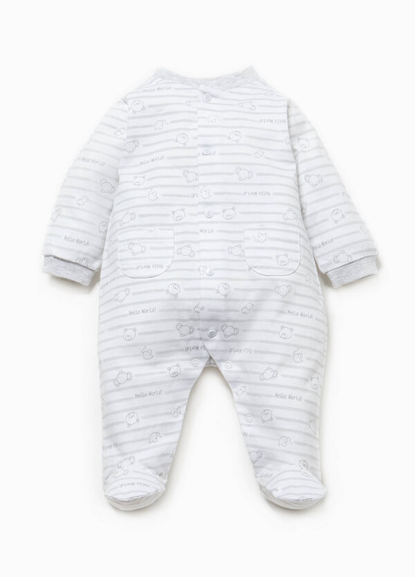 Striped cotton onesie with feet | OVS
