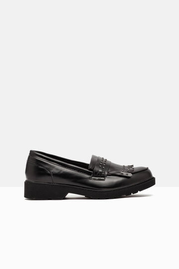 Loafers with fringe and studs., Black, hi-res