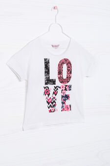 Printed T-shirt in 100% cotton, Cream, hi-res