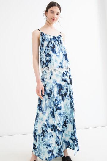Long printed skirt in 100% viscose, Blue, hi-res
