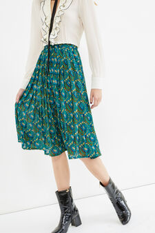 Longuette skirt with all-over print, Green, hi-res
