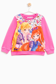 Sweatshirt in stretch cotton with Winx Club print, Fuchsia, hi-res