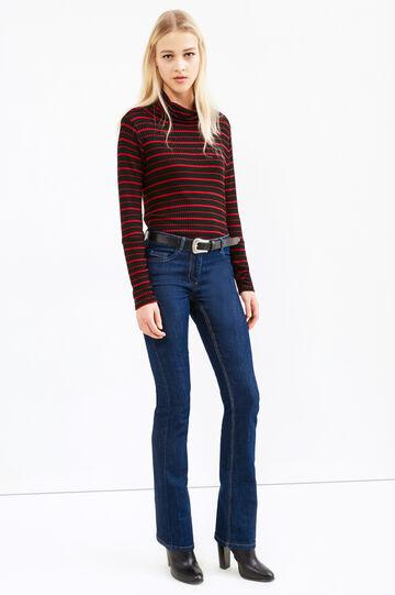 Solid colour stretch boot cut jeans, Blue, hi-res