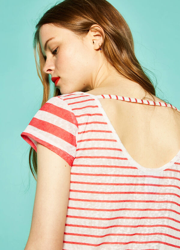 Crop T-shirt with stripes by Maui and Sons | OVS