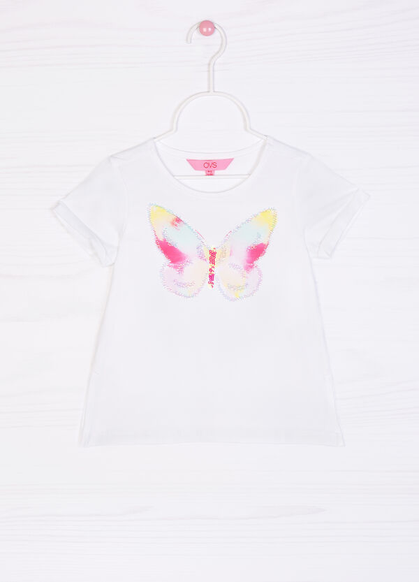 Stretch cotton diamanté T-shirt | OVS