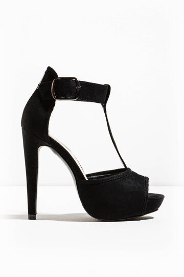 Open court shoes with buckle, Black, hi-res