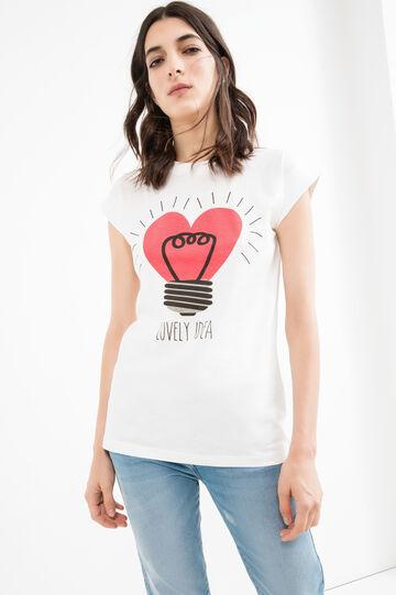 T-shirt puro cotone tinta unita stampa, Bianco latte, hi-res