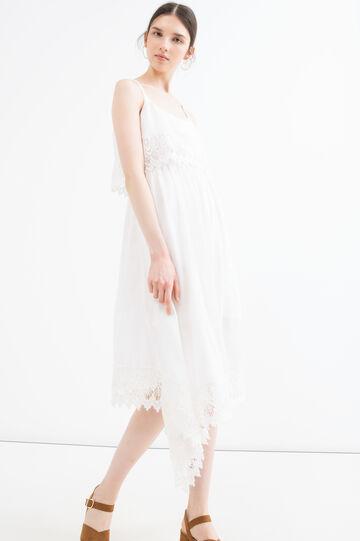 Sleeveless dress in 100% viscose, Cream White, hi-res