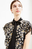 Floral patterned dress with flounces, Black, hi-res