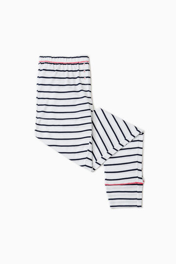Striped cotton pyjama trousers, White/Blue, hi-res