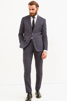 Elegant slim-fit suit in stretch viscose, Grey, hi-res