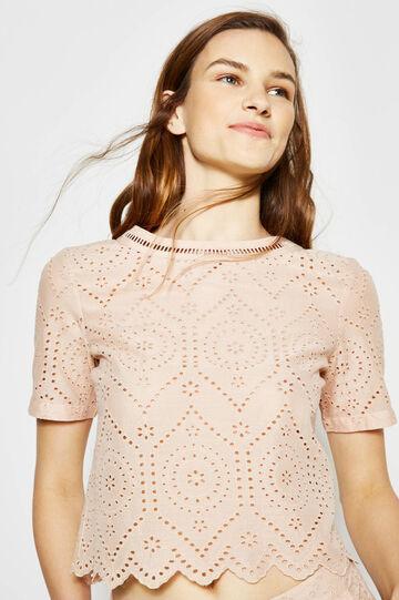 Crop blouse with openwork design