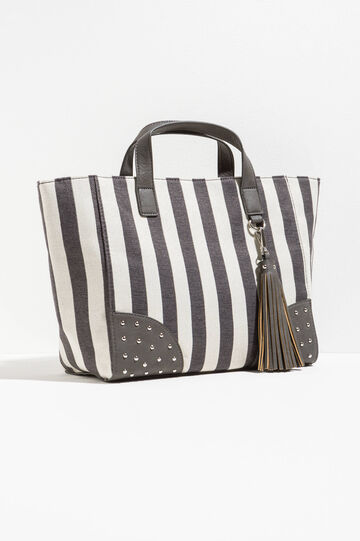 Striped handbag with studs, White/Grey, hi-res