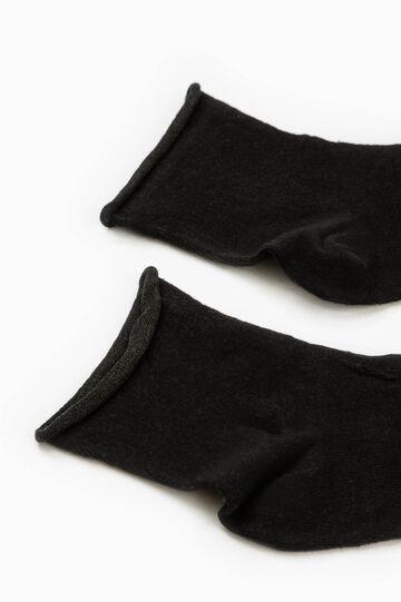Solid colour stretch cotton short socks, Black, hi-res