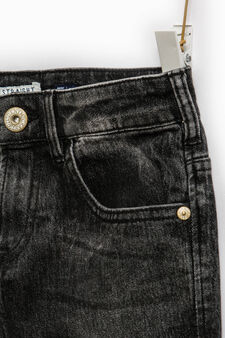 Jeans straight fit stretch effetto used, Nero, hi-res