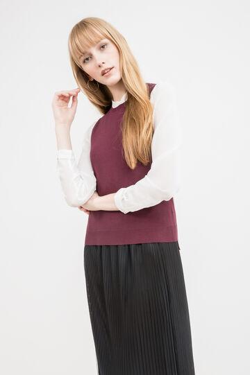 Maglione tricot smanicato, Rosso bordeaux, hi-res