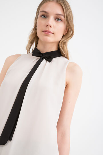 Sleeveless blouse with tie, Black/Pink, hi-res