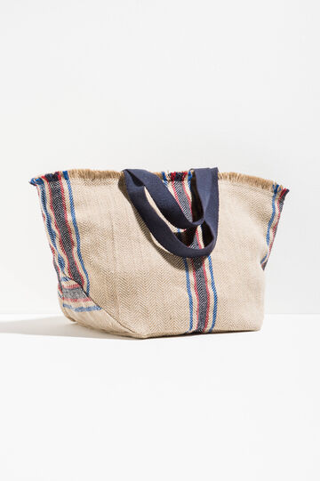 Beach bag with striped jute, Natural, hi-res