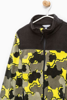 Fleece sweatshirt with camouflage pattern, Black, hi-res