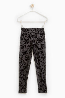 Stretch jeggings with all-over print, Black, hi-res