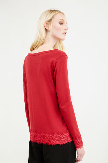 100% cotton T-shirt with lace, Red, hi-res