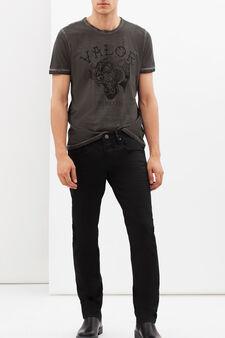 T-shirt stampata con cuciture a contrasto, Grigio fumo, hi-res