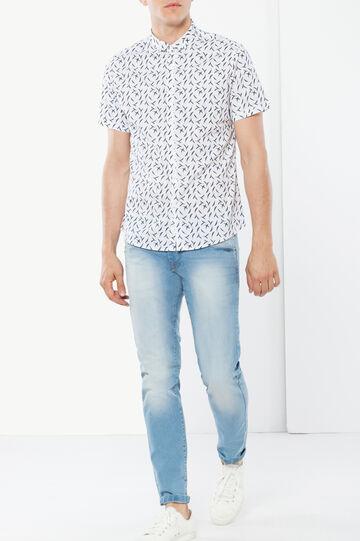Camicia fantasia, Bianco/Blu, hi-res
