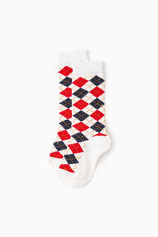 Long stretch embroidered socks, White/Blue, hi-res