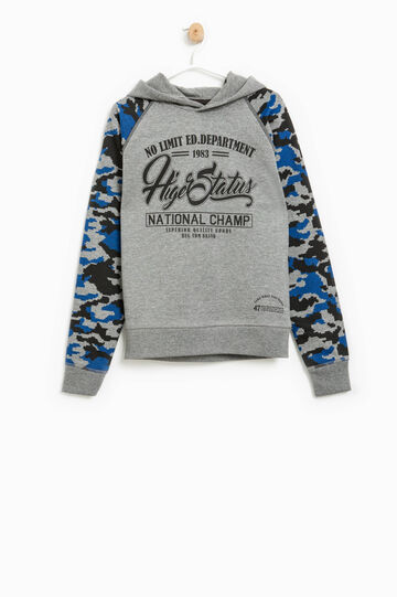Sweatshirt with camouflage sleeves, Grey Marl, hi-res