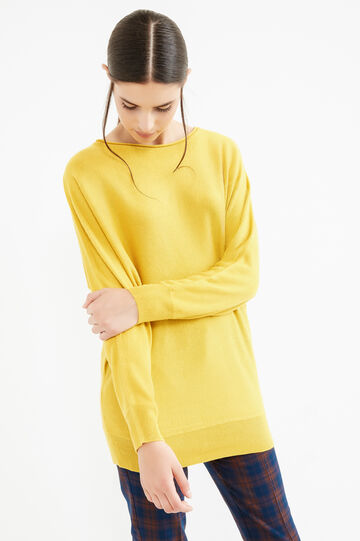 Solid colour boat-neck pullover, Ochre Yellow, hi-res